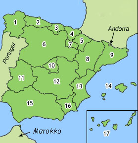 spania kart regioner Kan du regionene i Spania? | Blogg om Spania spania kart regioner